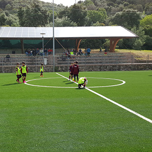 End-of-life tyres become a 7-side football field and a tennis court donated to the municipality of Pollica