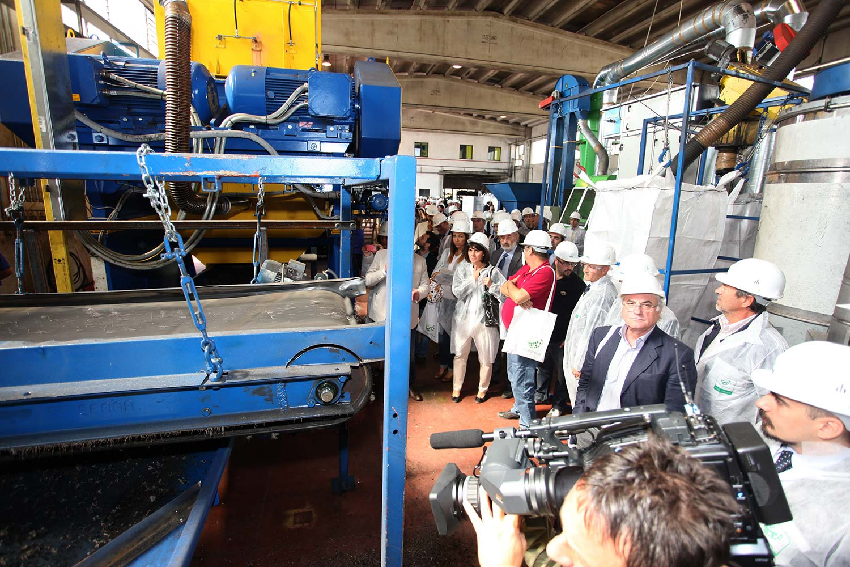 """L'impianto di Tritogom durante l'evento """"Impianti Aperti Ecopneus"""", settembre 2012"""