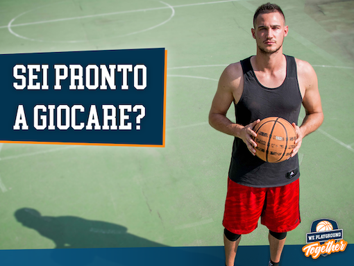 "NBA's champion, Danilo Gallinari, on the basketball court in Milan for ""We playground together"": the playground will be realised in rubber recycled from ELTs"