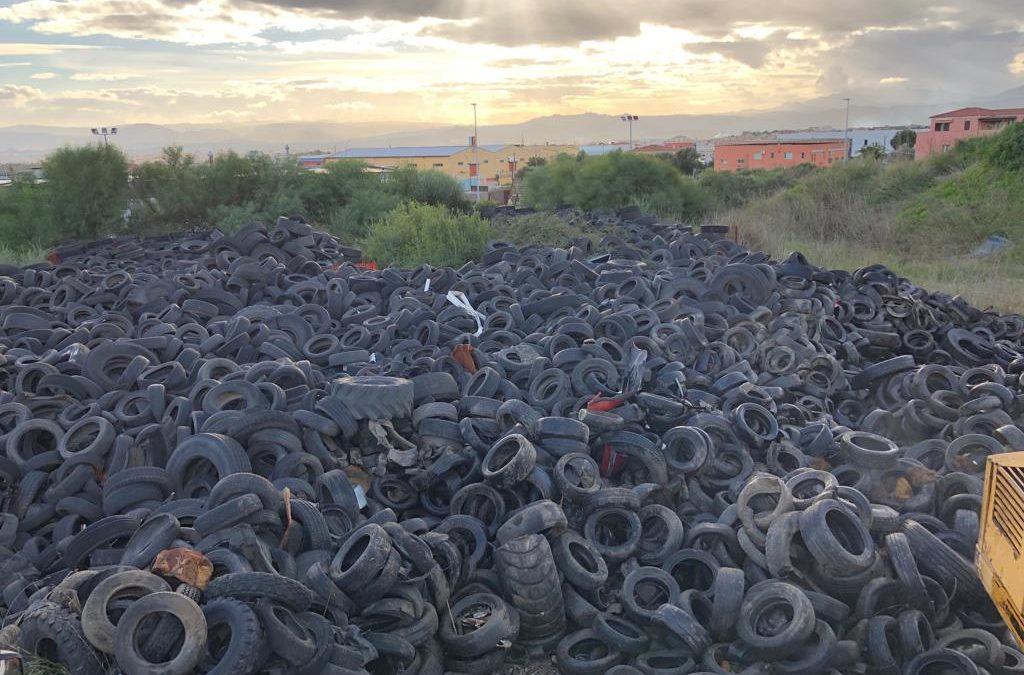 Olbia: terminato il prelievo di 920 tonnellate di Pneumatici Fuori Uso abbandonati in un'area industriale