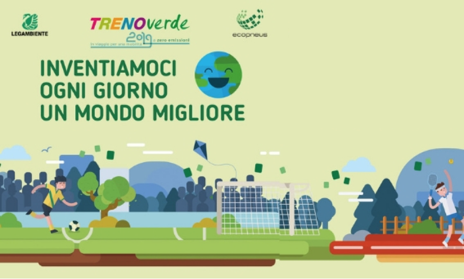 The car of the recycled rubber of TrenoVerde is in Naples