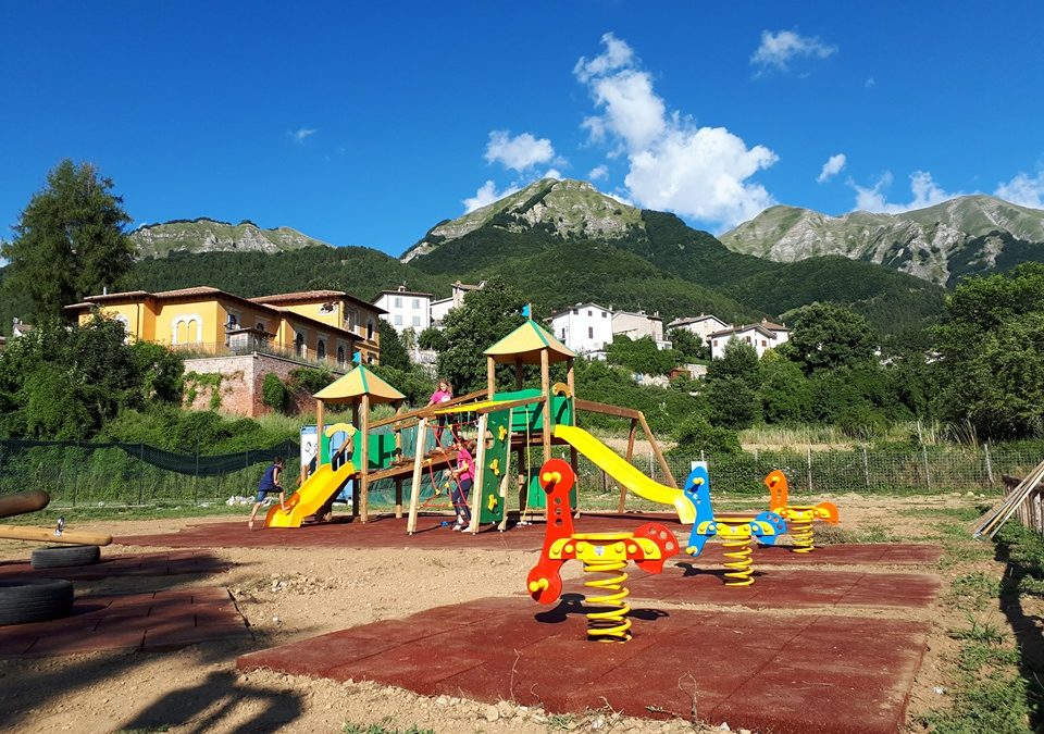Preta's playground in Amatrice is born again: an area dedicated to the children hit by the earthquake