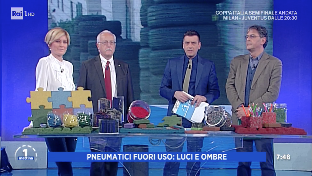 End-of-Life Tyres recycling at UnoMattina on Rai1