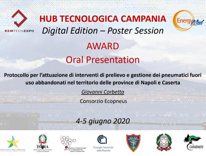 Hub Tecnologica Campania premia Ecopneus per l'impegno nella Terra dei Fuochi