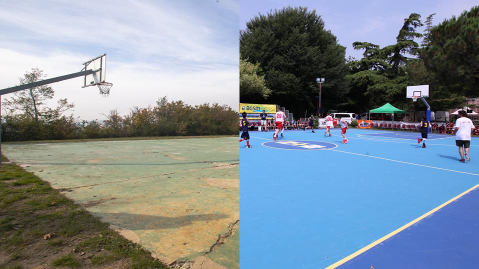 A Bologna un progetto di riqualificazione di un campo da basket con le superfici Tyrefield in gomma riciclata